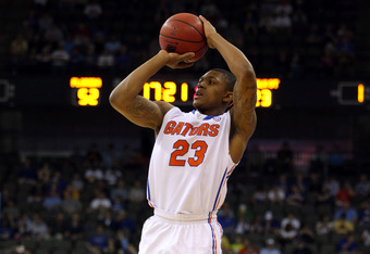 OMAHA, NE - MARCH 18:  Bradley Beal #23 of the Florida Gators attempts a shot in the second half against the Norfolk State Spartans during the third round of the 2012 NCAA Men's Basketball Tournament at CenturyLink Center on March 18, 2012 in Omaha, Nebra
