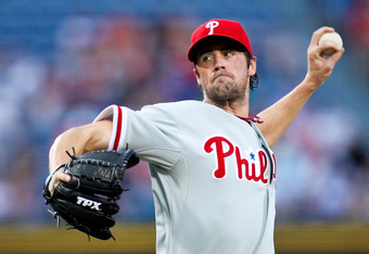 ATLANTA, GA - MAY 1: Cole Hamels #35 of the Philadelphia Phillies pitches in the third inning against the Atlanta Braves on May 1, 2012 at Turner Field in Atlanta, Georgia. (Photo by Daniel Shirey/Getty Images)