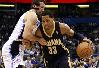 ORLANDO, FL - MAY 05: Forward Danny Granger #33 (R) of the Indiana Pacers drives against Forward Hedo Turkoglu #15 of the Orlando Magic in Game four of the Eastern Conference Quarterfinals in the 2012 NBA Playoffs at Amway Center on May 5, 2012 in Orlando