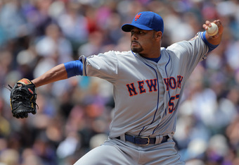 DENVER, CO - APRIL 29:  Starting pitcher Johan Santana #57 of the New York Mets delivers against the Colorado Rockies at Coors Field on April 29, 2012 in Denver, Colorado.  (Photo by Doug Pensinger/Getty Images)