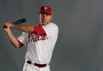 CLEARWATER, FL - MARCH 01:  Chase Utley #26 of the Philadelphia Philles poses for a portrait at the Bright House Field on March 1, 2012 in Clearwater, Florida  (Photo by Jonathan Ferrey/Getty Images)