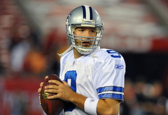 TAMPA, FL - DECEMBER 17:  Quarterback Tony Romo #9 of the Dallas Cowboys warms up for play against the Tampa Bay Buccaneers December 17, 2011 at Raymond James Stadium in Tampa, Florida. (Photo by Al Messerschmidt/Getty Images)