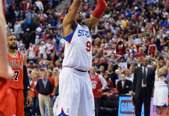 PHILADELPHIA, PA - MAY 10: Andre Iguodala #9 of the Philadelphia 76ers shoots the game winning free throw to give the team a 79-78 win over the Chicago Bulls in Game Six of the Eastern Conference Quarterfinals in the 2012 NBA Playoffs at the Wells Fargo C