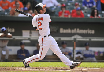 BALTIMORE, MD - MAY 10:  J.J. Hardy #2 of the Baltimore Orioles hits a home run during the first inning of a baseball game against the Texas Rangers at Oriole Park at Camden Yards on May 10, 2012 in Baltimore, Maryland.  (Photo by Mitchell Layton/Getty Im