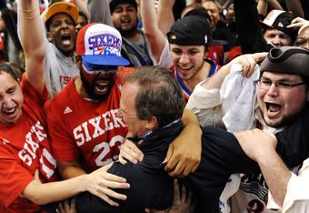 PHILADELPHIA, PA - MAY 10: Owner Joshua Harris of the Philadelphia 76ers celebrates with the fans after the 79-78 win over the Chicago Bulls in Game Six of the Eastern Conference Quarterfinals in the 2012 NBA Playoffs at the Wells Fargo Center on May 10,