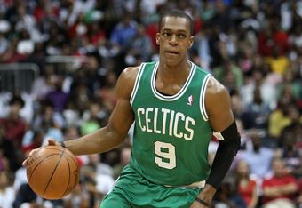ATLANTA, GA - MAY 08:  Guard Rajon Rondo #9 of the Boston Celtics dribbles during Game Five of the Eastern Conference Quarterfinals of the NBA Playoffs against the Atlanta Hawks at Philips Arena on May 8, 2012 in Atlanta, Georgia. NOTE TO USER: User expre
