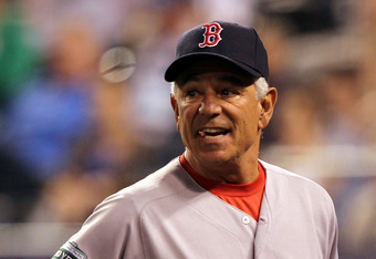 KANSAS CITY, MO - MAY 09:  Manager Bobby Valentine #25 of the Boston Red Sox argues a call during the game against the Kansas City Royals on May 9, 2012 at Kauffman Stadium in Kansas City, Missouri.  (Photo by Jamie Squire/Getty Images)