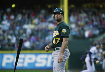 Mabry hit 11 home runs and drove in 40 after he was acquired by the A's from the Phillies in 2002.