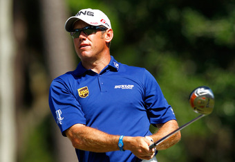PONTE VEDRA BEACH, FL - MAY 10:  Lee Westwood of England hits his tee shot on the ninth hole during the first round of THE PLAYERS Championship held at THE PLAYERS Stadium course at TPC Sawgrass on May 10, 2012 in Ponte Vedra Beach, Florida.  (Photo by Mi