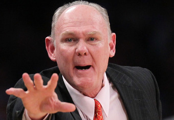 LOS ANGELES, CA - MAY 08:  Head coach George Karl of the Denver Nuggets reacts in the second half against the Los Angeles Lakers in Game Five of the Western Conference Quarterfinals in the 2012 NBA Playoffs on May 8, 2012 at Staples Center in Los Angeles,