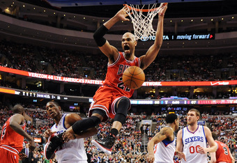PHILADELPHIA, PA - MAY 10: Taj Gibson #22 of the Chicago Bulls dunks during the game against the Philadelphia 76ers in Game Six of the Eastern Conference Quarterfinals in the 2012 NBA Playoffs at the Wells Fargo Center on May 10, 2012 in Philadelphia, Pen