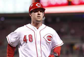 CINCINNATI, OH - APRIL 24: Ryan Ludwick #48 of the Cincinnati Reds crosses home plate after hitting a home run in the seventh inning against the San Francisco Giants at Great American Ball Park on April 24, 2012 in Cincinnati, Ohio. The Reds won 9-2. (Pho