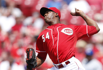 CINCINNATI, OH - MAY 3: Aroldis Chapman #54 of the Cincinnati Reds pitches against the Chicago Cubs at Great American Ball Park on May 3, 2012 in Cincinnati, Ohio. The Reds came from behind to win 4-3. (Photo by Joe Robbins/Getty Images)