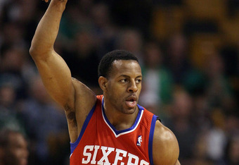 BOSTON, MA - MAY 12:  Andre Iguodala #9 of the Philadelphia 76ers celebrates his basket in the first quarter against the Boston Celtics in Game One of the Western Conference Semifinals in the 2012 NBA Playoffs on May 12, 2012 at TD Garden in Boston, Massa