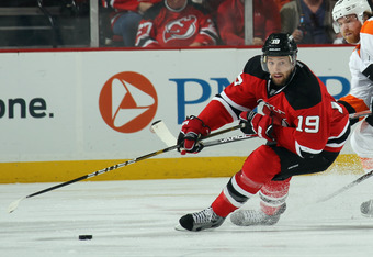 Travis Zajac has 5 goals and 10 points so far this spring for the resurgent Devils