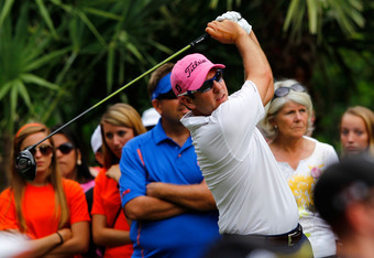 PONTE VEDRA BEACH, FL - MAY 13: Ben Curtis of the United States hits his tee shot on the 15th hole during the final round of THE PLAYERS Championship held at THE PLAYERS Stadium course at TPC Sawgrass on May 13, 2012 in Ponte Vedra Beach, Florida.  (Photo