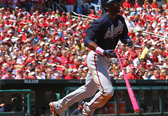 Jason Heyward's three-run double was a key hit in the Braves' 7-4 victory on Sunday.