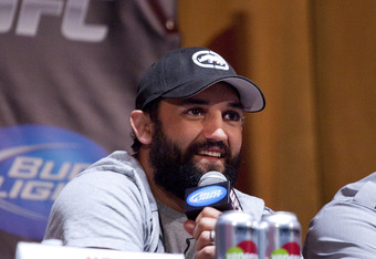 NEW YORK - MARCH 06:   UFC welterweight Johny Hendricks (L) speaks at a press conference at Radio City Music Hall, as heavyweight Lavar Johnson (R) listens, on March 06, 2012 in New York City.  UFC announced that their third event on the FOX network will