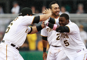 Josh Harrison celebrates with teammates after his walk-off single on Mother's Day.