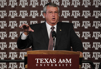 COLLEGE STATION, TX - SEPTEMBER 26:  Athletic director Bill Byrne of the Texas A&M Aggies speaks prior to a press conference for Texas A&M accepting an invitation to join the Southeastern Conference on September 26, 2011 in College Station, Texas. (Photo