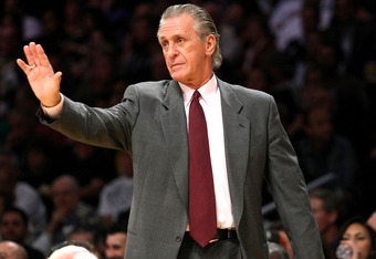 LOS ANGELES - FEBRUARY 28:    Head coach Pat Riley of the Miami Heat gestures during the game with the Los Angeles Lakers on February 28, 2008 at Staples Center in Los Angeles, California.  The Lakers won 106-88. NOTE TO USER: User expressly acknowledges