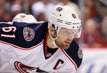 GLENDALE, AZ - APRIL 03:  Rick Nash #61 of the Columbus Blue Jackets in action during the NHL game against the Phoenix Coyotes at Jobing.com Arena on April 3, 2012 in Glendale, Arizona.  (Photo by Christian Petersen/Getty Images)