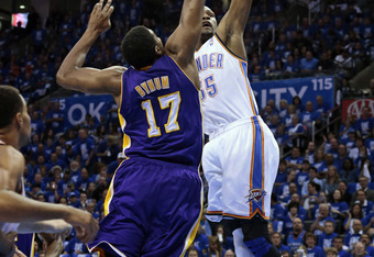 OKLAHOMA CITY, OK - MAY 14: Kevin Durant #35 of the Oklahoma City Thunder shoots over Andrew Bynum #17 of the Los Angeles Lakers in Game One of the Western Conference Semifinals in the 2012 NBA Playoffs on May 14, 2012 at the Chesapeake Energy Arena in Ok