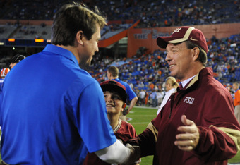 Jimbo Fisher (right) won't be joining Will Muschamp (left) in the SEC