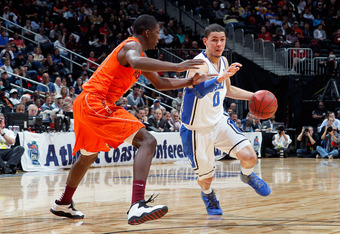 ATLANTA, GA - MARCH 09:  Austin Rivers #0 of the Duke Blue Devils drives against the Virginia Tech Hokies in their Quarterfinal game of the 2012 ACC Men's Basketball Conferene Tournament at Philips Arena on March 9, 2012 in Atlanta, Georgia  (Photo by Kev