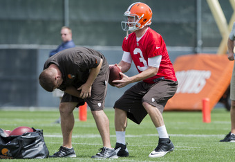 BEREA, OH - MAY 12: Quarterback Brandon Weeden #3 of the Cleveland Browns during the second day of minicamp at Cleveland Browns training facility on May 12, 2012 in Berea, Ohio. (Photo by Jason Miller/Getty Images)