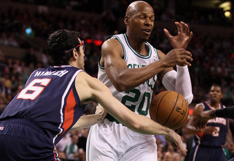 BOSTON, MA - MAY 10:  Ray Allen #20 of the Boston Celtics loses the ball as Kirk Hinrich #6 of the Atlanta Hawks swats it away in Game Six of the Eastern Conference Quarterfinals in the 2012 NBA Playoffs on May 10, 2012 at TD Garden in Boston, Massachuset