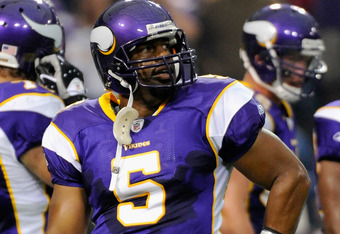 MINNEAPOLIS, MN - SEPTEMBER 18: Donovan McNabb #5 of the Minnesota Vikings reacts during the game against the Tampa Bay Buccaneers on September 18, 2011 at the Hubert H. Humphrey Metrodome in Minneapolis, Minnesota. (Photo by Hannah Foslien/Getty Images)