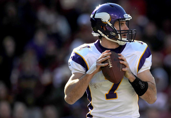 LANDOVER, MD - DECEMBER 24: Quarterback  Christian Ponder #7 of the Minnesota Vikings looks for open teammates against the Washington Redskins at FedEx Field on December 24, 2011 in Landover, Maryland. The Minnesota Vikings won, 33-26. (Photo by Patrick S