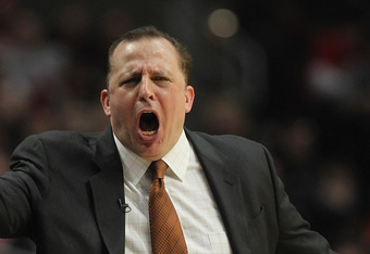 CHICAGO, IL - APRIL 21:  Head coach Tom Thibodeau of the Chicago Bulls reacts to a referee's call during a game against the Dallas Mavericks at the United Center on April 21, 2012 in Chicago, Illinois. The Bulls defeated the Mavericks 93-83. NOTE TO USER: