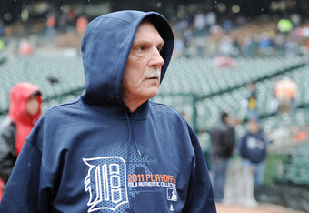 DETROIT, MI - OCTOBER 12:  Manager Jim Leyland #10 of the Detroit Tigers stands on the field prior to playing the Texas Rangers in Game Four of the American League Championship Series at Comerica Park on October 12, 2011 in Detroit, Michigan.  (Photo by H