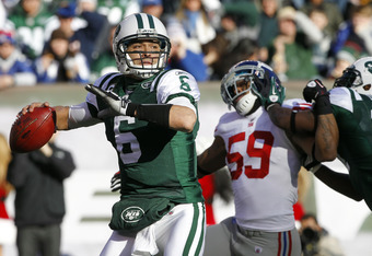 EAST RUTHERFORD, NJ - DECEMBER 24:  Mark Sanchez #6 of the New York Jets looks to pass during a game against the New York Giants at MetLife Stadium on December 24, 2011 in East Rutherford. New Jersey. The Giants won 29 - 14. (Photo by Rich Schultz/Getty I