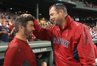 Wakefield (right) and catcher Jason Varitek: Tek will get his day at Fenway this summer as well.