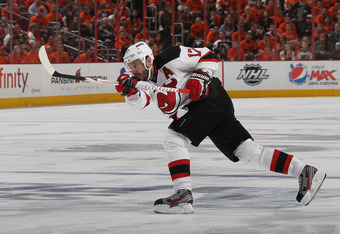 PHILADELPHIA, PA - MAY 08:  Ilya Kovalchuk #17 of the New Jersey Devils scores a powerplay goal at 5:00 of the third period against the Philadelphia Flyers in Game Five of the Eastern Conference Semifinals during the 2012 NHL Stanley Cup Playoffs at Wells