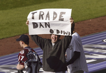 08 Apr 2002:  A young fan appears to be tired of the trades made by general manager Dan O''Dowd of the Colorado Rockies at Coors Field in Denver, Colorado.  The Houston Astros won 8-4 on the Rockies home opener.   DIGITAL IMAGE Mandatory Credit: Brian Bah