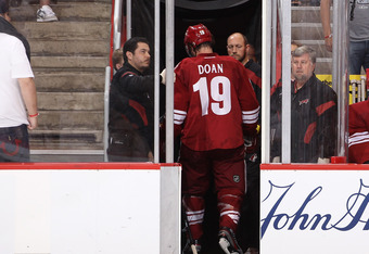 The Coyotes lost captain Shane Doan to a game misconduct late in the second period.
