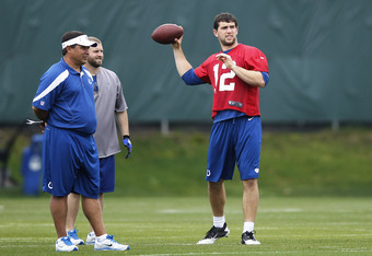 INDIANAPOLIS, IN - MAY 4: Andrew Luck #12 of the Indianapolis Colts works out as quarterbacks coach Clyde Christensen looks on during a rookie minicamp at the team facility on May 4, 2012 in Indianapolis, Indiana. (Photo by Joe Robbins/Getty Images)