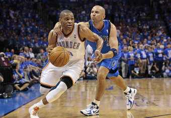 OKLAHOMA CITY, OK - APRIL 28:  Russell Westbrook #0 of the Oklahoma City Thunder is fouled by Jason Kidd #2 of the Dallas Mavericks during the first half in Game One of the Western Conference Quarterfinals in the 2012 NBA Playoffs on April 28, 2012 at the