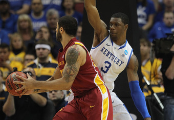 LOUISVILLE, KY - MARCH 17:  Terrence Jones #3 of the Kentucky Wildcats defends against Royce White #30 of the Iowa State Cyclones during the third round of the 2012 NCAA Men's Basketball Tournament at KFC YUM! Center on March 15, 2012 in Louisville, Kentu