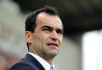 WIGAN, ENGLAND - MAY 13:  Wigan Athletic manager Roberto Martinez looks on during the Barclays Premier League match between Wigan Athletic and Wolverhampton Wanderers at DW Stadium on May 13, 2012 in Wigan, England.  (Photo by Chris Brunskill/Getty Images