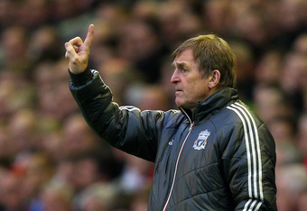 LIVERPOOL, ENGLAND - MAY 08:  Manager Kenny Dalglish gives instructions during the Barclays Premier League match between Liverpool and Chelsea at Anfield on May 8, 2012 in Liverpool, England.  (Photo by Alex Livesey/Getty Images)