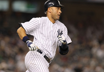 NEW YORK, NY - APRIL 15:  Derek Jeter of the New York Yankees rounds the bases after hitting a three run home run in the fourth inning against the Los Angeles Angels of Anaheim at Yankee Stadium on April 15, 2012 in the Bronx borough of New York City. In