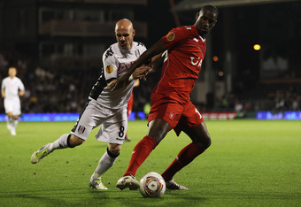 Douglas in the Europa League against Fulham