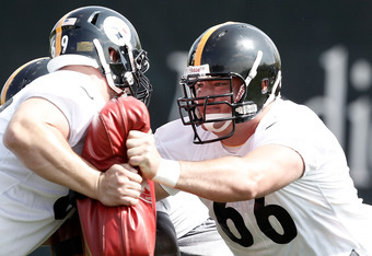 PITTSBURGH, PA - MAY 04:  First round draft pick David DeCastro #66 of the Pittsburgh Steelers works out during their rookie minicamp at the Pittsburgh Steelers South Side training facility on May 4, 2012 in Pittsburgh, Pennsylvania.  (Photo by Jared Wick