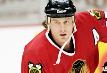 Roenick's wife and I prefer this shot for different reasons. He's clean-shaven and in a 'Hawks sweater.