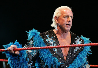PERTH, AUSTRALIA - NOVEMBER 24:  Ric Flair looks on while awaiting the entrance of Hulk Hogan during the Hulkamania Tour at the Burswood Dome on November 24, 2009 in Perth, Australia.  (Photo by Paul Kane/Getty Images)